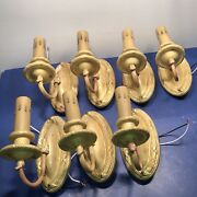 Wired Set Of 7 Seven Raw Yellow Brass Sconces Lot Antique Fixtures 26d