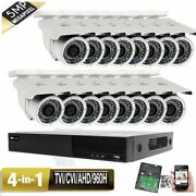 5mp 16ch All-in-1 Dvr 5mp 4-in-1 Ahd Security Camera System 3tb Bullet Ip66 34h