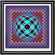Victor Vasarely Large Color Silkscreen Hang Sphere Optical Illusion Signed Arrt