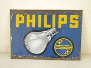 1930and039s Vintage Old Collectible Philips Bulb Light Ad Porcelain Enamel Sign Board