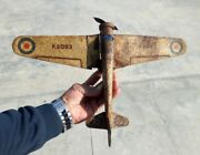 Vintage Old Collectible K5083 Wind Up Airplane Litho Tin Toy Made In England