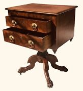 19th C Antique Classical Mahogany 2 Drawer Work Table Night Stand / End Table