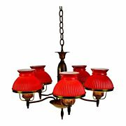 Vintage 5 Light Ribbed Cranberry Glass Student Shade Chandelier
