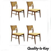 4 Mid Century Modern Walnut Cane Back Dining Chairs After Th Robsjohn Gibbings