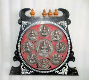 Vintage Old Hand Crafted Unique Hindu Lord Ashtalakshmi Silver Figure Wall Plate
