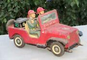 Vintage Rare Battery F.d Fire Department Tm Trade Mark Litho Jeep Tin Toy Japan