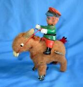 Vintage Old Rare Wind Up Cow Boy On Horse Jumping Tin Celluloid Toy , Japan