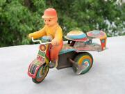 Vintage Old Wind Up Children Drive Tricycle Bell Ringing Litho Tin Toy Japan