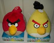 1913 Nrfb Commonwealth Toys Angry Birds - Red Bird And Yellow Bird Plush