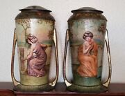 Pair Of Early 1900and039s Art Nouveau Litho Tin Canisters