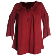 Style And Co Red Or Black Bell Sleeve Cold Shoulder Peasant Top Nwt Free Ship Plus