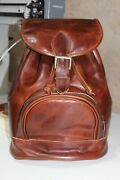 Handmade Genuine Cow Leather Brown Backpack From Holy Land For Men/ Women