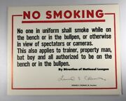 Vintage Montreal Expos Olympic Stadium Issued Clubhouse No Smoking Sign