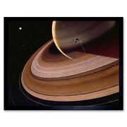 Space Impression Voyager Saturn Ring Planet 12x16 Inch Framed Art Print