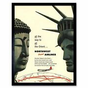 Travel America Airline Orient 1953 Statue Liberty Buddha 12x16 Inch Framed Print