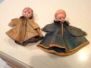 Two Antique Celluloid Hand Puppets Very Old And Unique