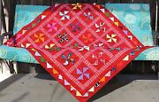 New Red Cute Lady Bugs Handcrafted In Us Baby Lap Crib. Quilt 46 X 52