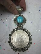 Vintage Navajo Hs Sterling Silver 4 Turquoise 1889 Silver Dollar Coin Pendant