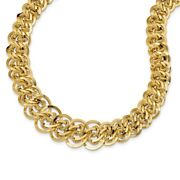 14k 14kt Yellow Gold Polished And Textured Fancy Link Necklace 19mm 18 Inch