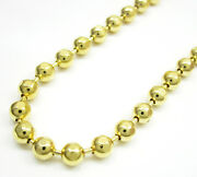 26-30 4mm 10k Yellow Real Gold Combat Bead Ball Cut Chain Necklace Mens Ladies