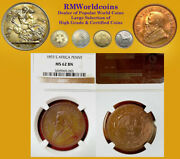 South Africa 1893 Penny Ext Rare Superb Certified Ngc 62 Bn Key Date Beauty