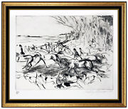 Leroy Neiman Original Etching Into The Open Hand Signed Fox Hunt Sports Artwork