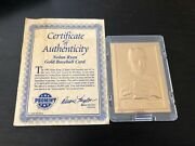 Nolan Ryan Promint 22k Gold With Certificate Of Authenticity