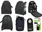 Camera Backpack Bag Fits Dslr And Lenses + Pouch + Remote For Canon Eos Rebel