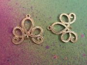 5 Gold Plated Swirl Chandelier Charms Earring Connector Wedding Components