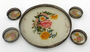 Antique Floral Painted Glass Brass Jali Cut Plate Platter Coaster Collectible