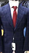 Blue/white 150 Cerruti Windowpane Wool Suit With Wide Peak Lapel Double Stitched