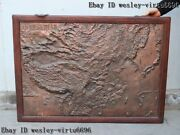 Old China Wood Inlay Copper Bronze Map Atlas Plat Picture Domain Wall Hanging