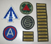 Lot Us Army Military Patches Wwii Third Army Xiii And Xxii Corp Bars Sc