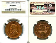 South Africa 1898 Penny Rare Superb Gem Ngc 64 Rb Sharp Detail Luster Fields