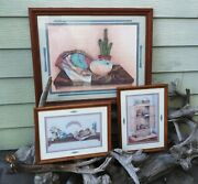 Home Interiors Wooden Framed Southwestern Pictures Lot Of Three Homco Burwood