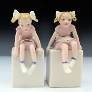 Lenox China Vintage Twins Pigtail Girls Figurine On Cube Blue / Green Mark Mint