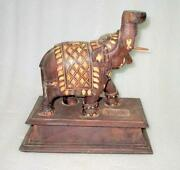 Antique Old Rare Hand Carved Rose Wood And Ir Work Elephant Shape Table Lamp