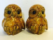 70's Vintage Retro Owl Ceramic Book Ends Set Yellow And Brown Signed By Artist