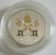 Cook Islands 5 Dollars 2009 80 Years Vatican City State Silver