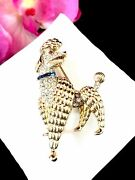 Crown Trifari Gold-plated Blue Rhinestone Paris In Spring French Poodle Dog Pin