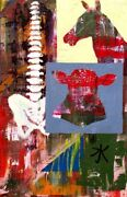 Colorful Horse And Cow With Bones Painting On Sale