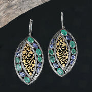 11.45 Ct Emerald Dangle Drop Earrings Solid Sterling Silver Diamond Pave Jewelry