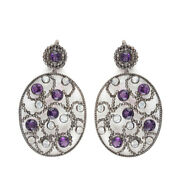Sapphire Dangle Earrings Solid Sterling Silver Diamond Pave Valentine Jewelry