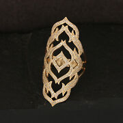 18k Yellow Solid Gold Pave Natural Diamond Armor Long Finger Ring Fine Jewelry