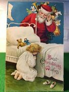 Vintage Christmas Post Card Of Santa Claus Best Christmas Wishes 1909 Beautiful
