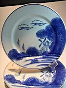 Kanedai Occupied Japan Dinner Plates Hand Painted Blue Windmill Boats Set 6