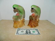 2 Vintage Hand Painted Brazil Ceramic Green And Yellow Parakeet's 7 Figurines