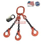 5/8 G100 Chain Sling 3-leg Clevis Sling Hook W/latch Tos Made In Usa