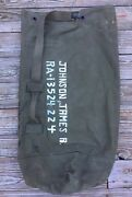 Vintage Korea War Us Army Military Duffle Type I Canvas Bag Sz 38x22 Made In Usa