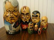 Unique Vintage Russian Presidents Nesting Dolls 8.5 Tall